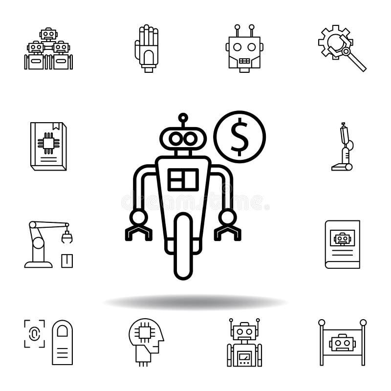 ?cone do esbo?o do rob? da rob?tica ajuste dos ícones da ilustração da robótica os sinais, símbolos podem ser usados para a Web,  ilustração do vetor