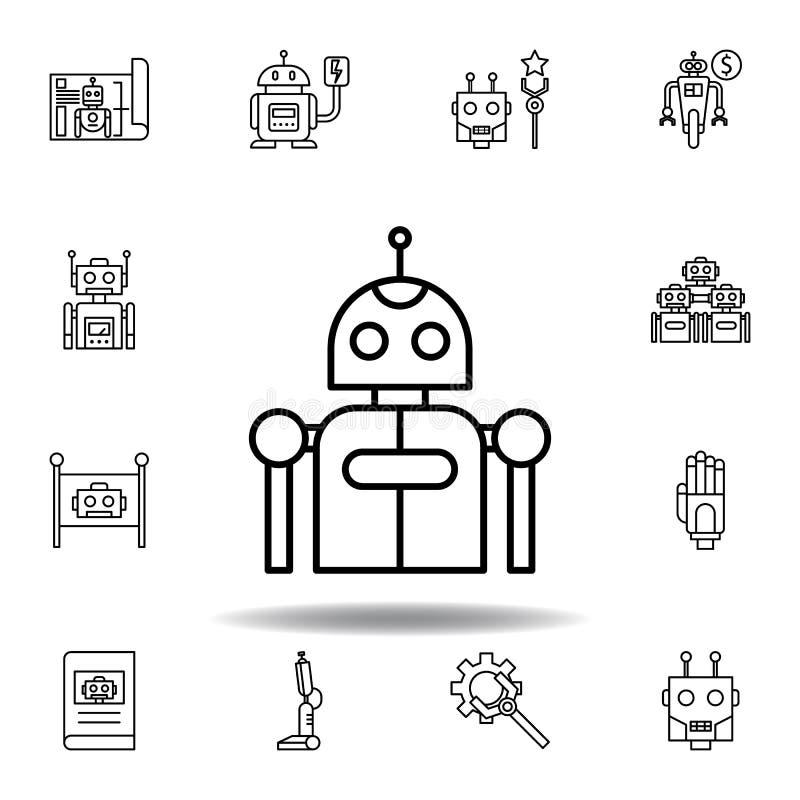 ?cone do esbo?o do rob? da rob?tica ajuste dos ícones da ilustração da robótica os sinais, símbolos podem ser usados para a Web,  ilustração stock