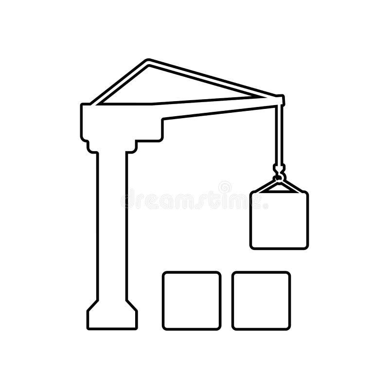 ?cone do guindaste da carga Elemento de log?stico para o conceito e o ?cone m?veis dos apps da Web Esbo?o, linha fina ?cone para  ilustração royalty free