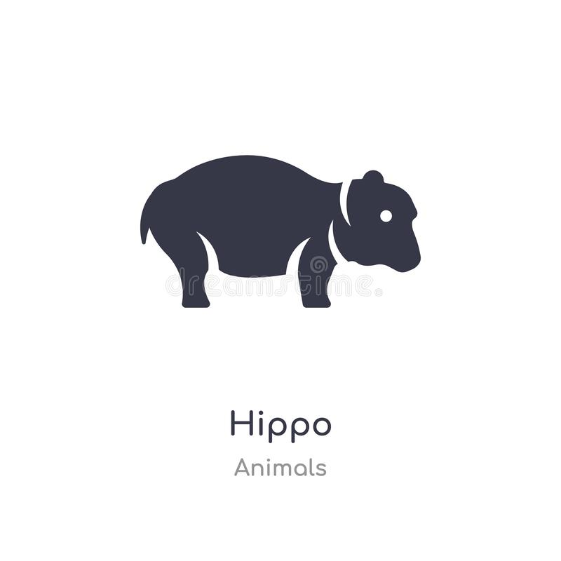 ?cone do hipop?tamo ilustração isolada do vetor do ícone do hipopótamo da coleção dos animais edit?vel cante o s?mbolo pode ser u ilustração royalty free