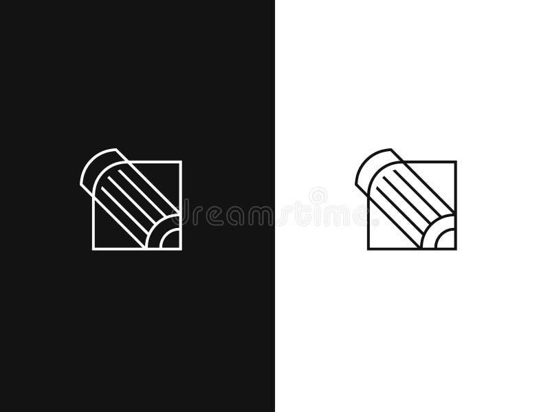 ?cone do l?pis do contorno Linha abstrata isolada vetor ilustração stock