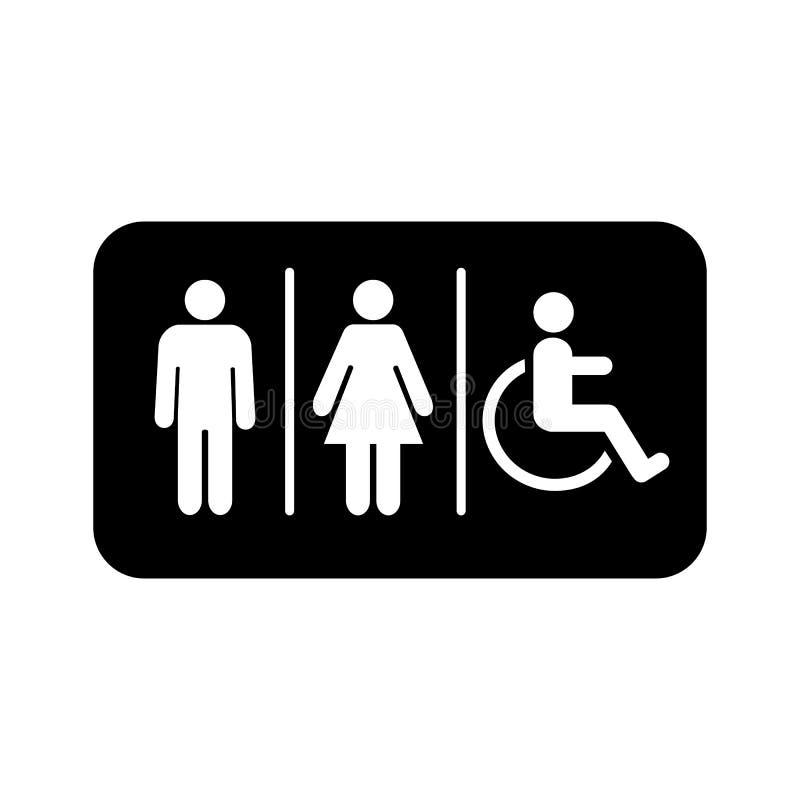 ?cone do lavabos Signage do toalete Logotipo da ilustração do vetor do símbolo do toalete ilustração royalty free