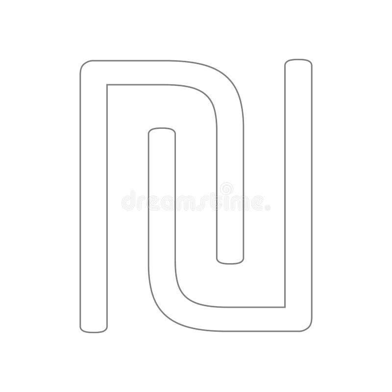 ?cone do logotipo da letra inicial U e do N Elemento da Web para o conceito e o ?cone m?veis dos apps da Web Esbo?o, linha fina ? ilustração royalty free