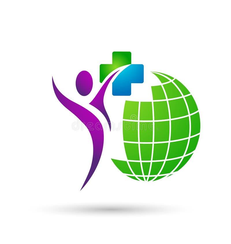 ?cone do logotipo dos povos dos cuidados m?dicos do globo no fundo branco ilustração royalty free