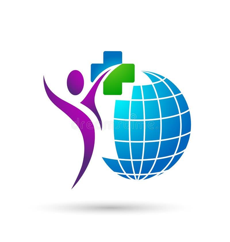 ?cone do logotipo dos povos dos cuidados m?dicos do globo no fundo branco ilustração stock