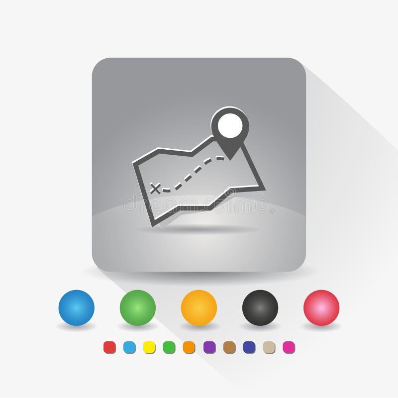 ?cone do mapa App do s?mbolo do sinal no canto redondo da forma quadrada cinzenta com ilustra??o do vetor da sombra e molde longo ilustração do vetor