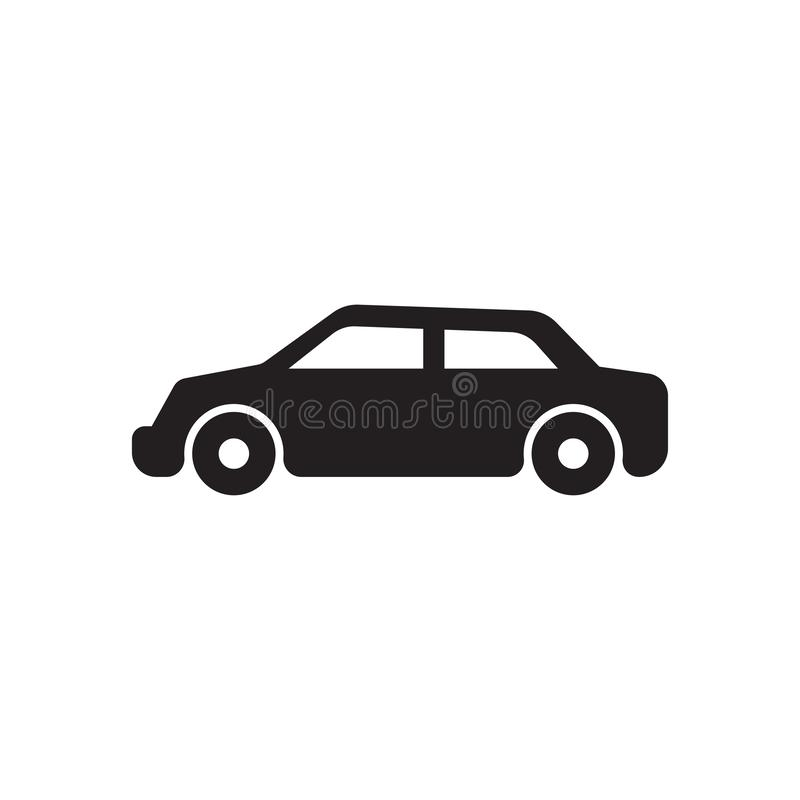 ?cone do monochrome do carro vetor preto do ícone do carro ilustração royalty free
