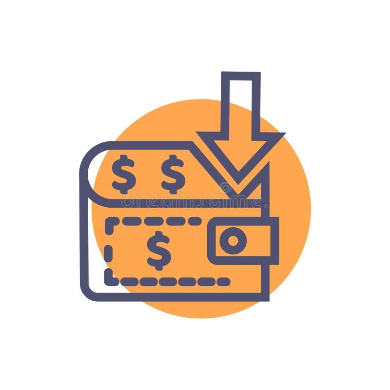 ?cone do pagamento ?cone perfeito do pagamento do vetor com vetor do saco e da seta do dinheiro ilustração do vetor