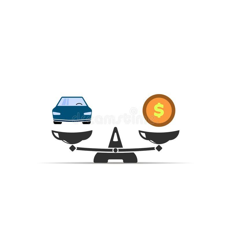 ?cone do peso Carro e dinheiro em escalas Conceito da venda do carro S?mbolo do vetor ilustração royalty free