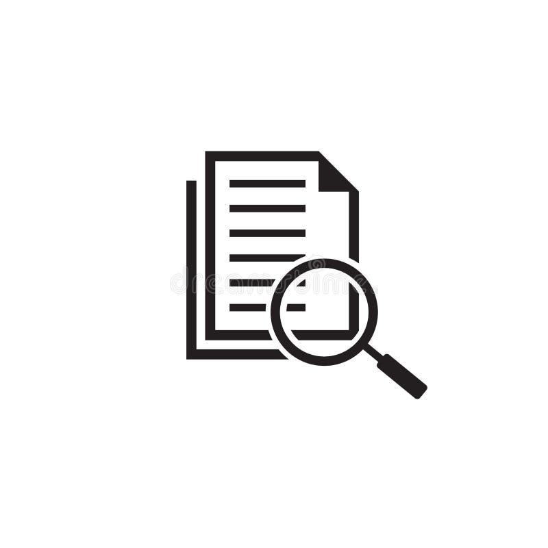 ?cone do plano do original do exame minucioso no estilo liso Vetor da indicação da revisão no fundo isolado branco Documento com  ilustração stock