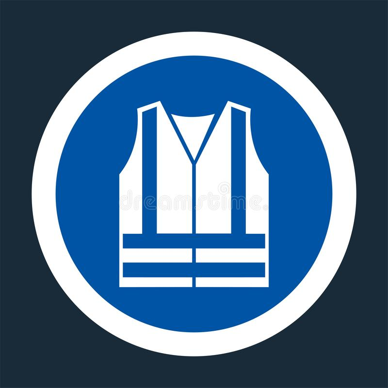 ?cone do PPE Sinal alto do símbolo da roupa de Visibilty do desgaste no fundo preto, llustration do vetor ilustração stock