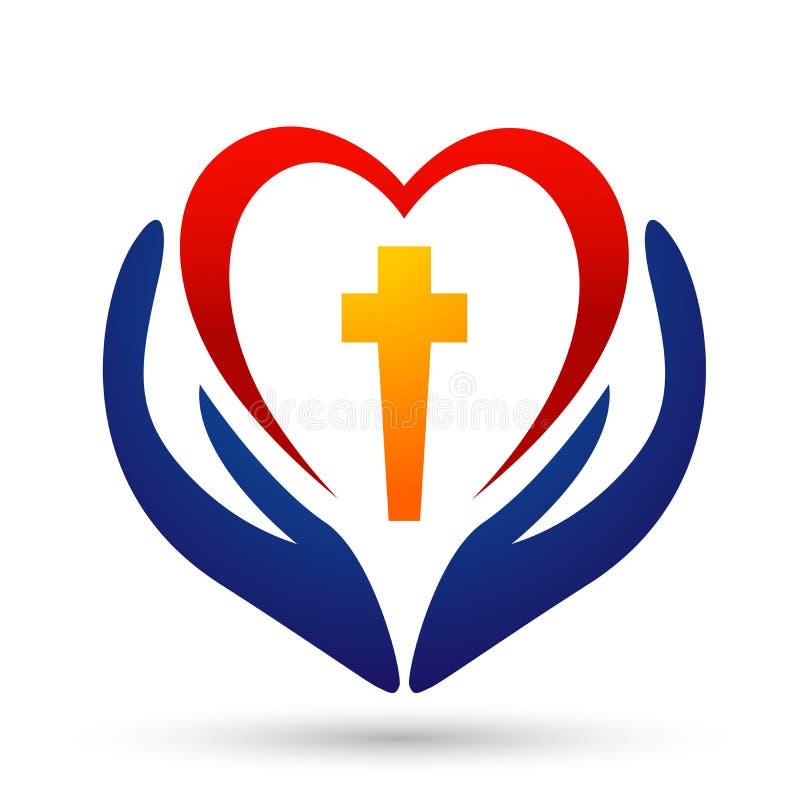 ?cone do projeto do logotipo do amor do cora??o do cuidado da m?o da uni?o dos povos da igreja da cidade no fundo branco ilustração do vetor