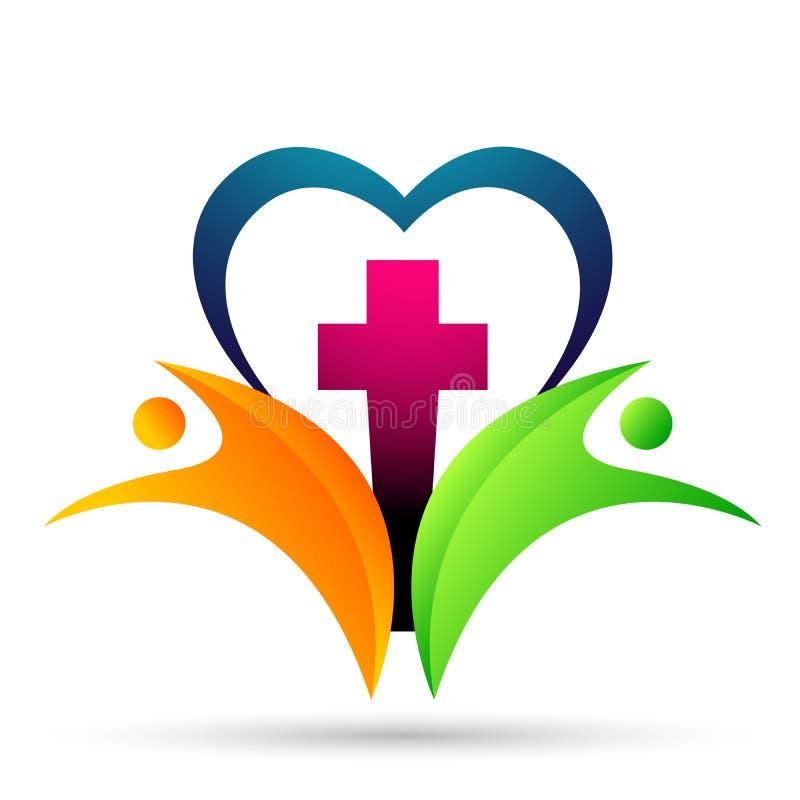 ?cone do projeto do logotipo do amor do cora??o do cuidado da uni?o dos povos da igreja da cidade no fundo branco ilustração do vetor