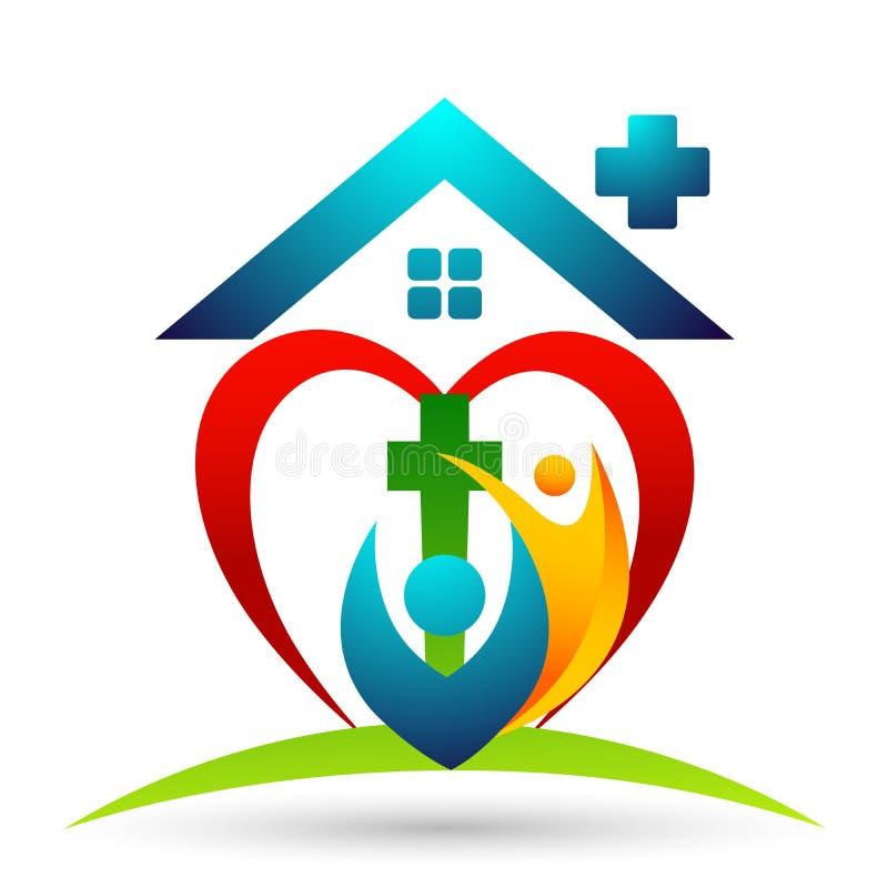 ?cone do projeto do logotipo do amor do cuidado da uni?o dos povos da igreja da cidade no fundo branco ilustração stock