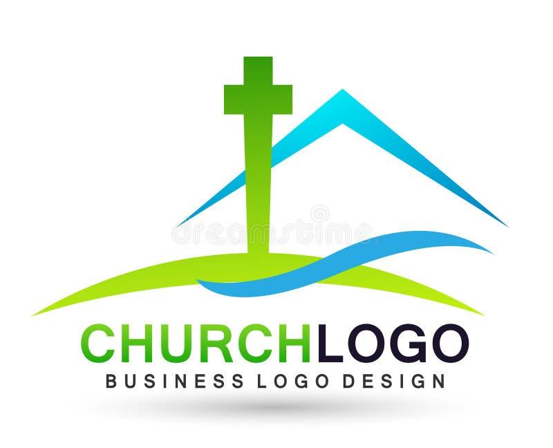?cone do projeto do logotipo do amor do cuidado da uni?o dos povos da igreja da cidade no fundo branco ilustração do vetor