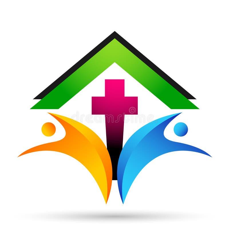 ?cone do projeto do logotipo do amor do cuidado da uni?o dos povos da igreja da cidade no fundo branco ilustração royalty free