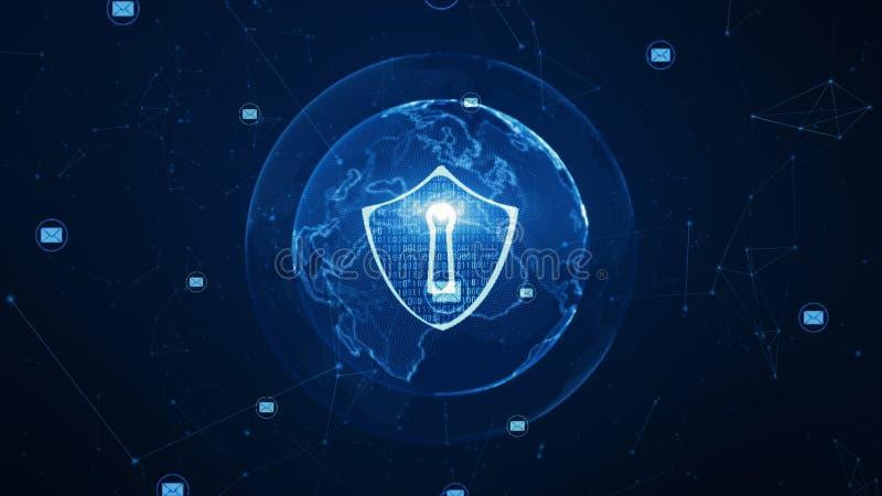 ?cone do protetor e do e-mail na rede global segura, conceito da seguran?a do Cyber Elemento da terra fornecido pela NASA ilustração royalty free
