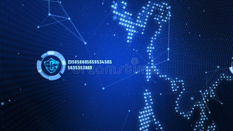 ?cone do protetor na rede global segura, na rede da tecnologia e no conceito da seguran?a do cyber Prote??o para conex?es mundiai ilustração royalty free