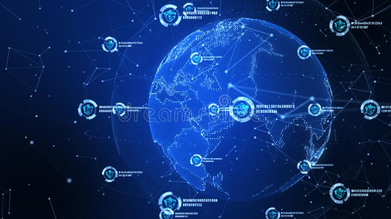 ?cone do protetor na rede global segura, na rede da tecnologia e no conceito da seguran?a do cyber Prote??o para conex?es mundiai ilustração stock