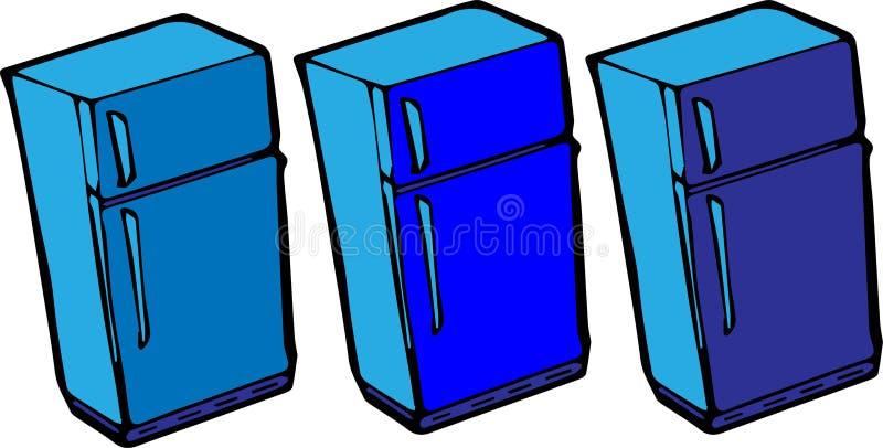 ?cone do refrigerador no fundo branco ilustração stock