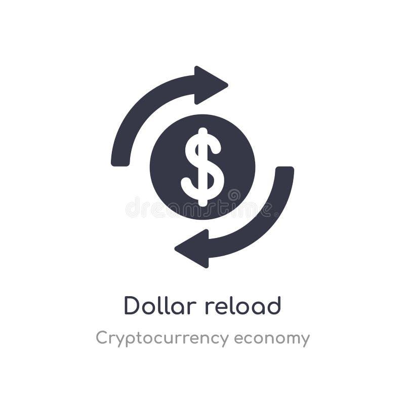 ?cone do reload do d?lar o dólar isolado recarrega a ilustração do vetor do ícone da coleção da economia do cryptocurrency edit?v ilustração stock