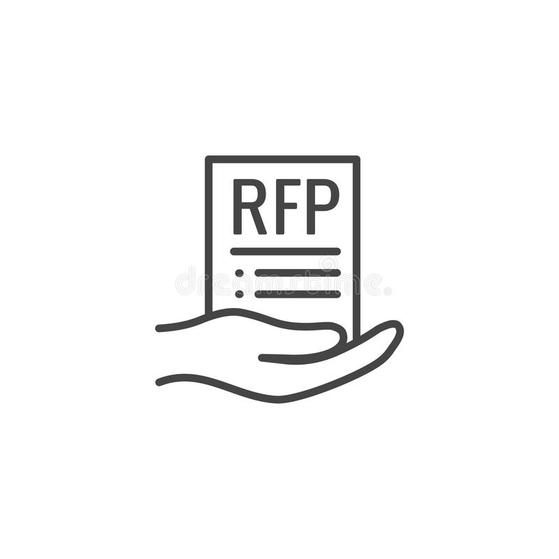 ?cone do RFP - conceito ou ideia do pedido de propostas ilustração do vetor