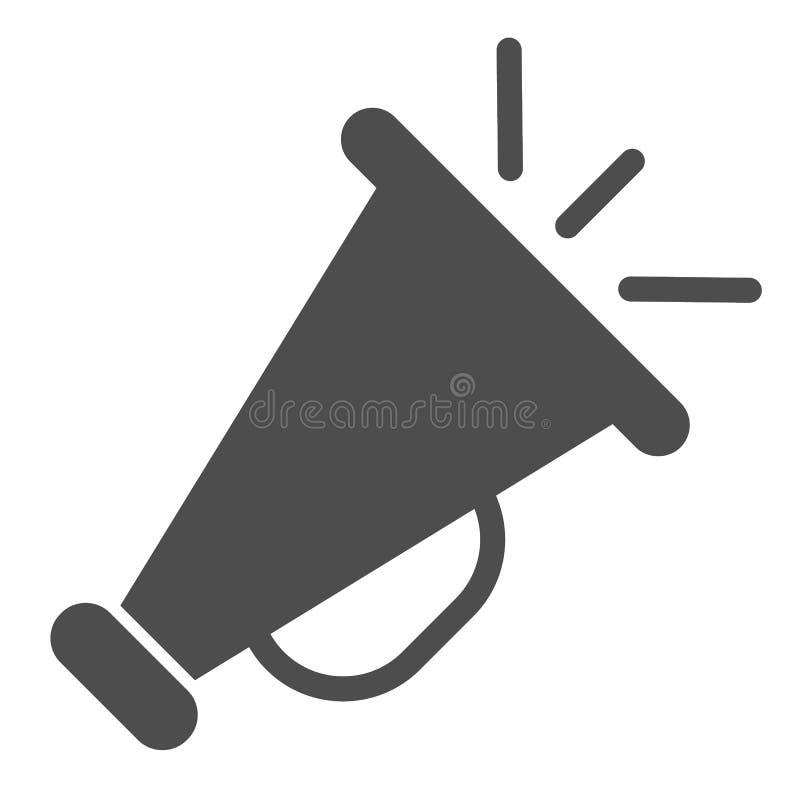 ?cone do s?lido do megafone Anunciando a ilustra??o do vetor isolada no branco Projeto do estilo do glyph do anúncio, projetado p ilustração stock