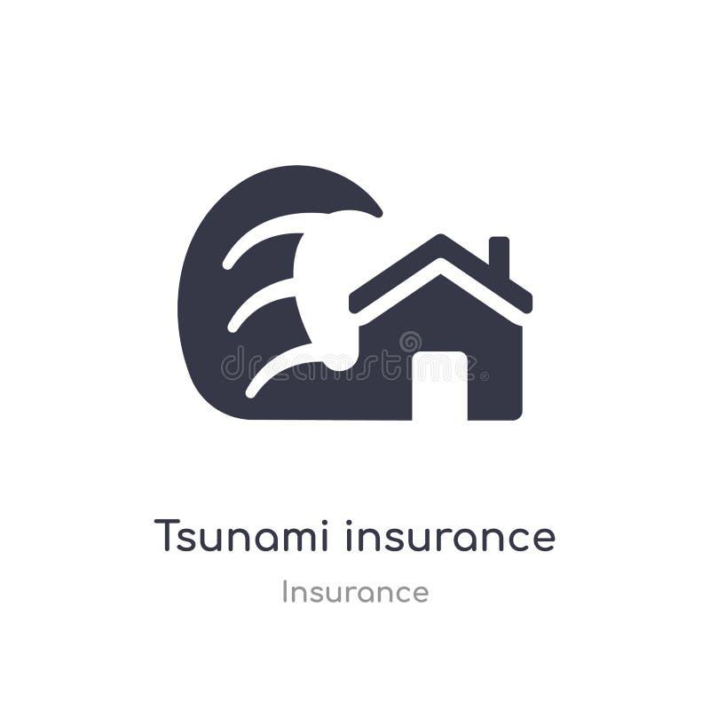 ?cone do seguro do tsunami ilustração isolada do vetor do ícone do seguro do tsunami da coleção do seguro edit?vel cante o s?mbol ilustração royalty free