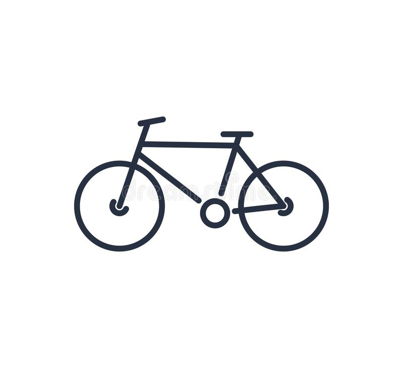 ?cone do sinal da bicicleta no estilo liso Ilustra??o do vetor da bicicleta no fundo isolado branco Conceito de ciclagem do neg?c ilustração do vetor