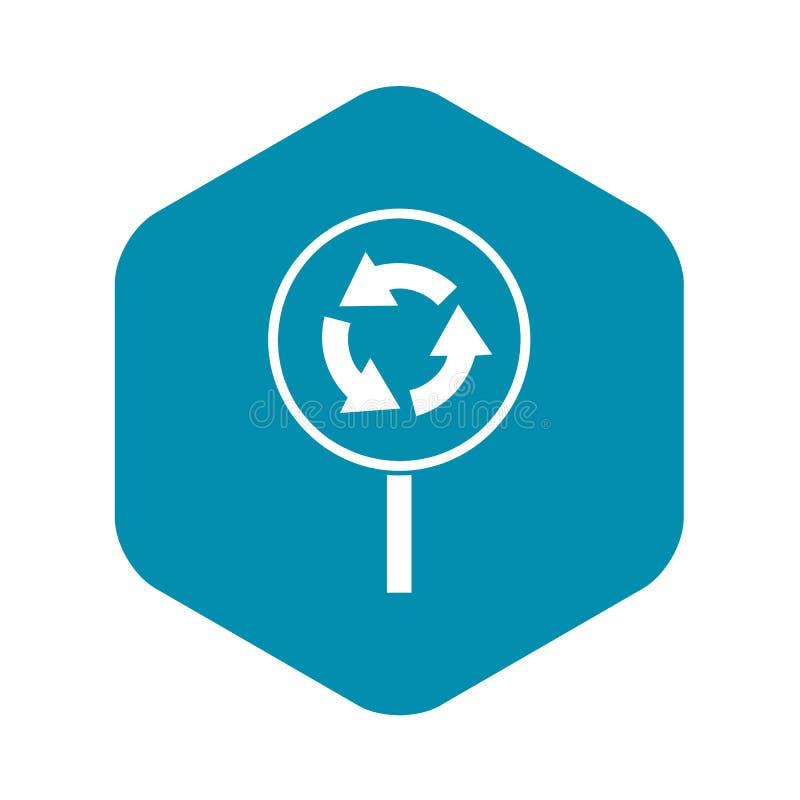 ?cone do sinal de estrada do movimento circular, estilo simples ilustração stock