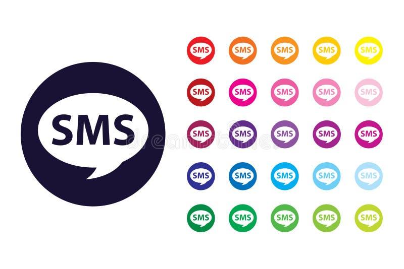 ?cone do sinal de Sms Símbolo da cor de SMS ilustração royalty free
