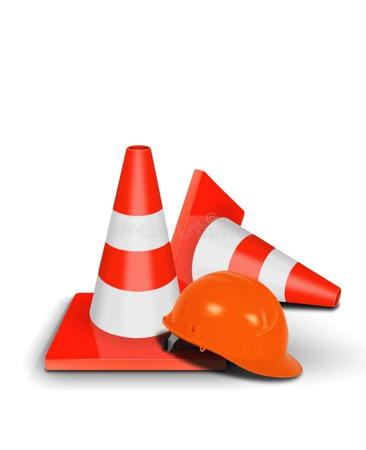 Cone do tráfego e capacete de segurança ilustração royalty free