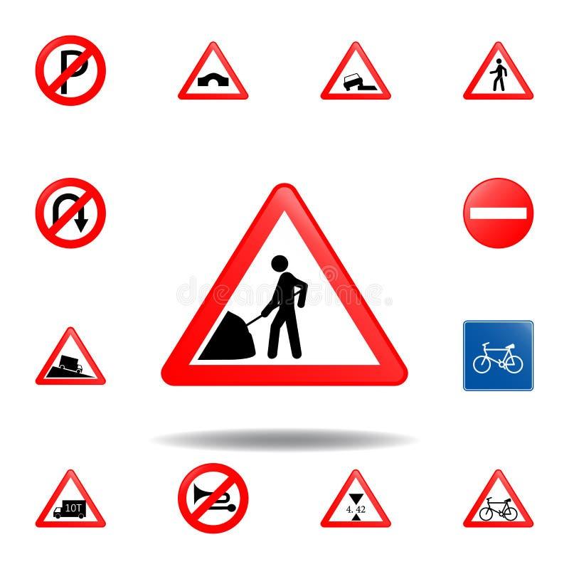 ?cone do trabalho de estrada ajuste do ícone dos sinais de estrada para apps móveis do conceito e da Web O ?cone colorido do trab ilustração stock