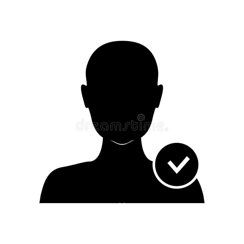 ?cone do usu?rio com sinal da verifica??o O ?cone do perfil e aprovou, confirma, ilustração royalty free