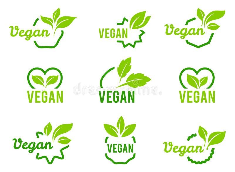 ?cone do vegetariano Ajuste dos crachás, dos emblemas e do vetor dos selos ilustração stock