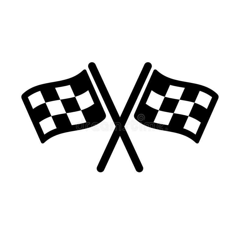 ?cone do vetor do come?o Símbolo da ilustração da bandeira da raça Linha de bandeira logotipo do esporte da competição do vetor C ilustração stock