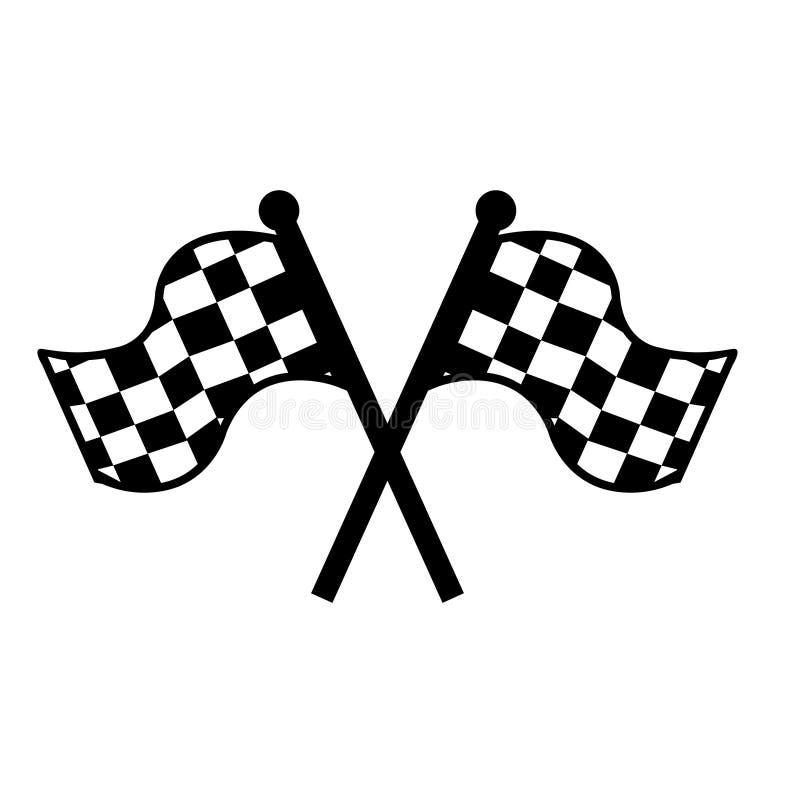 ?cone do vetor do come?o Símbolo da ilustração da bandeira da raça Linha de bandeira logotipo do esporte da competição do vetor C ilustração royalty free