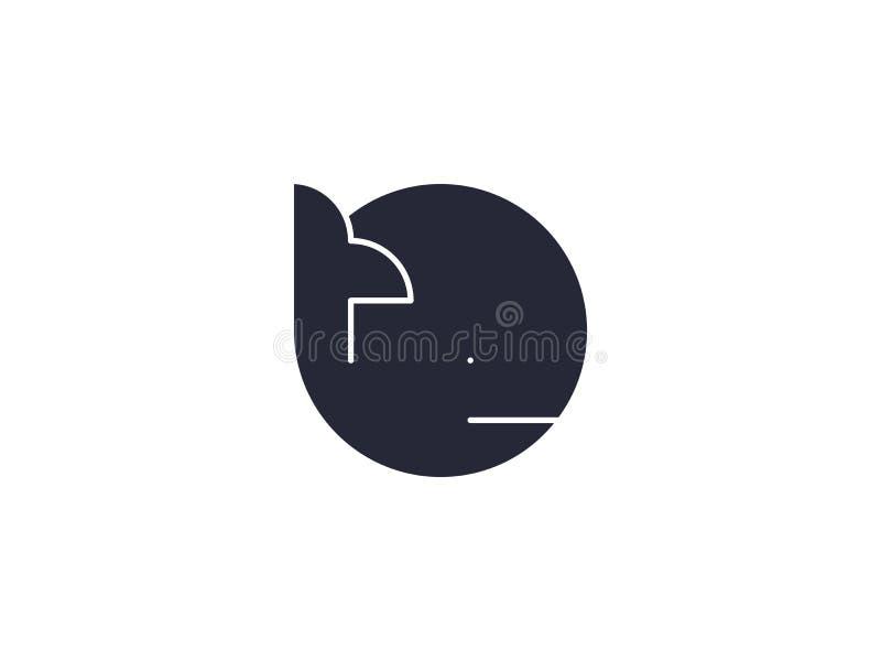?cone do vetor da baleia Elemento do projeto do logotipo do oceano Ilustra??o da vida marinha no estilo liso na moda ilustração royalty free