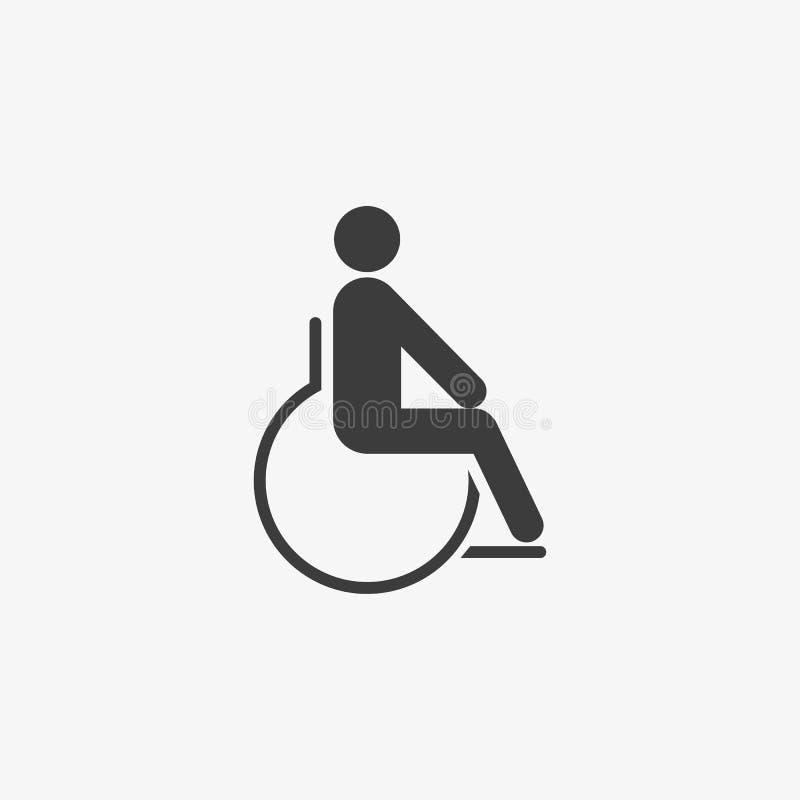 ?cone do vetor da cadeira de rodas Dia internacional das pessoas com inabilidades ilustração stock