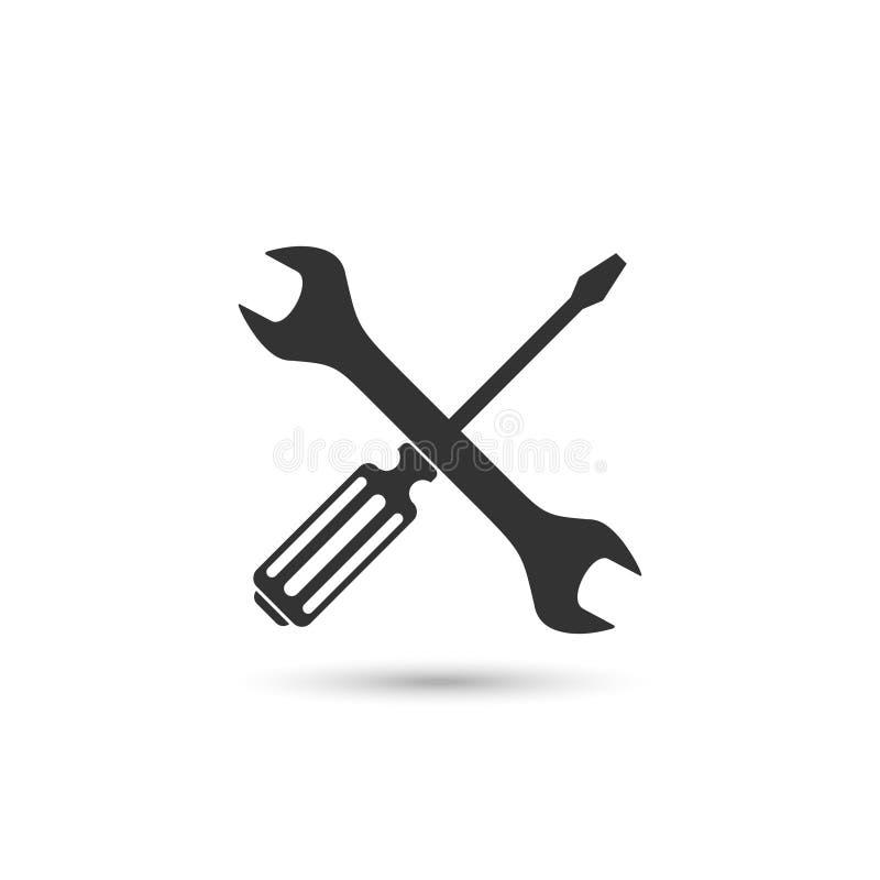 ?cone do vetor da chave de fenda e da chave ilustração stock