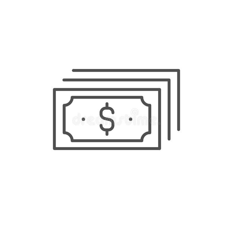 ?cone do vetor da nota de d?lar Linha sinal do dinheiro de USD do esboço, símbolo fino linear, projeto liso para a Web, Web site, ilustração royalty free