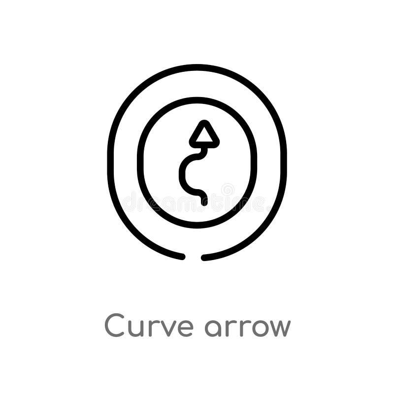 ?cone do vetor da seta da curva do esbo?o linha simples preta isolada ilustra??o do elemento do conceito da interface de usu?rio  ilustração royalty free
