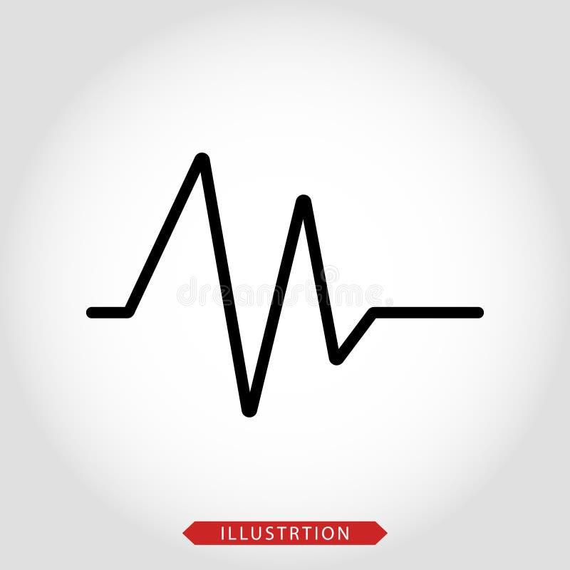 ?cone do vetor do eletrocardiograma, dist?rbio do ritmo da cavidade no fundo isolado branco Camadas agrupadas para a ilustra??o f ilustração stock
