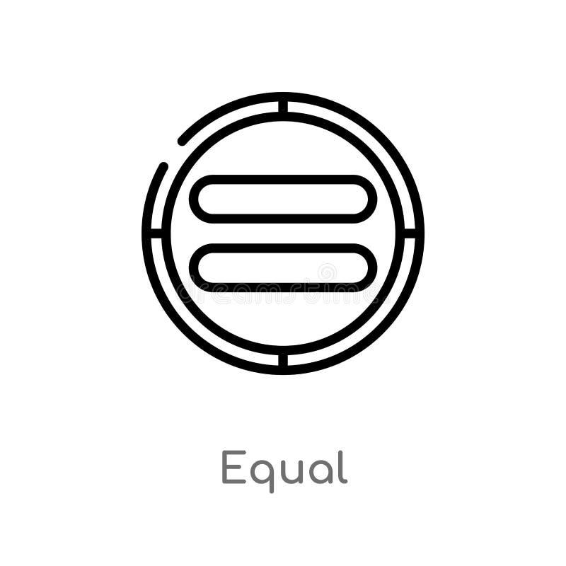 ?cone do vetor do igual do esbo?o linha simples preta isolada ilustra??o do elemento do conceito da interface de usu?rio Curso ed ilustração do vetor