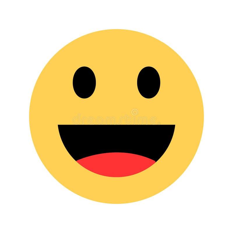 ?cone do vetor do sorriso Ícone de sorriso feliz do emoticon da cara no estilo liso Símbolo amarelo no fundo branco ilustração do vetor