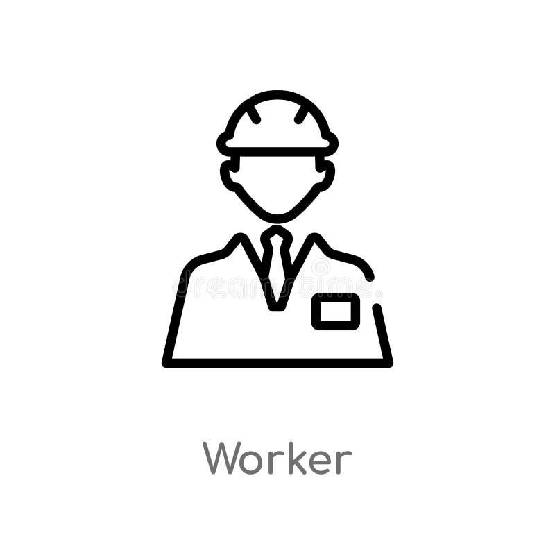 ?cone do vetor do trabalhador do esbo?o linha simples preta isolada ilustra??o do elemento do conceito dos lucros do trabalho Cur ilustração stock