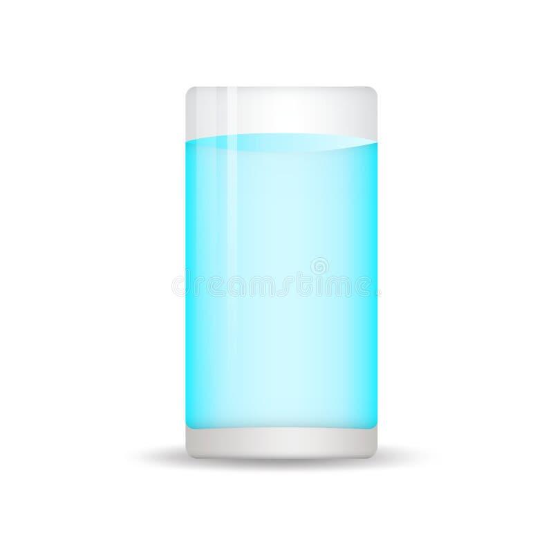 ?cone do vidro de ?gua no estilo liso Vetor de vidro da soda, ?cone da Web, sinal, elementos do projeto para o neg?cio ilustração stock
