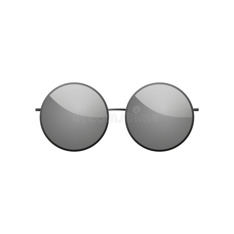 ?cone dos ?culos de sol Fundo branco isolado redondo preto dos vidros de sol da silhueta Projeto moderno do desgaste Elegância do ilustração stock