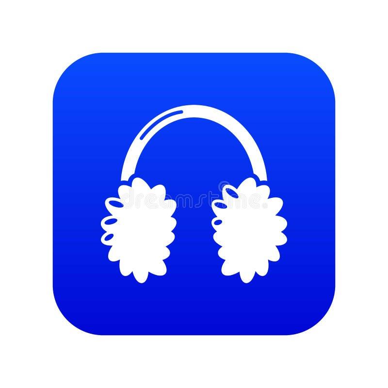 ?cone dos fones de ouvido do inverno, estilo preto simples ilustração stock