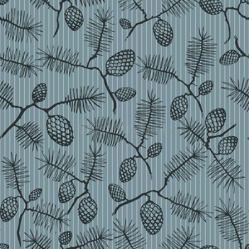 Cone e listras de abeto ilustração stock